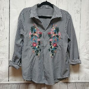 Zara Embroidered Checkered Floral Boho Shirt M